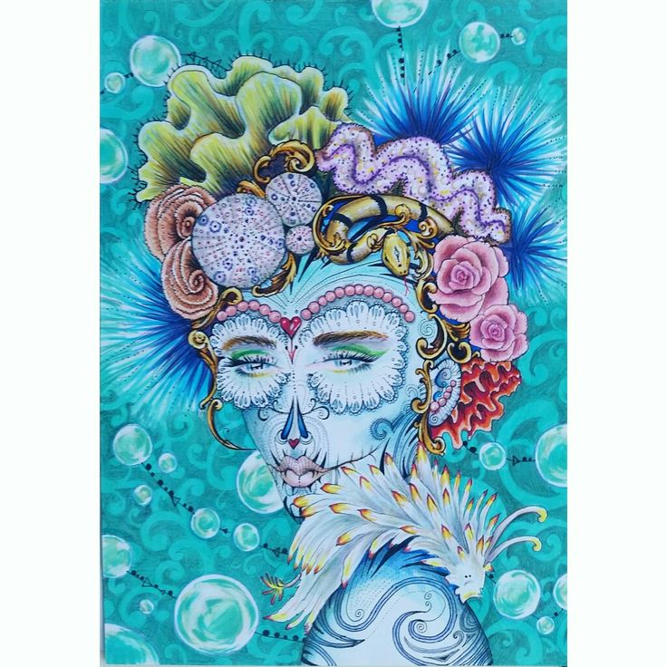 """Sea Memories"" by Ruth Park Copic markers on A5 paper. Dia de los muertos art. Portrait fantasy. Merman. $190.00"