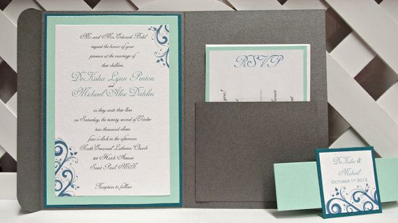 we could deff do this! Custom Handmade Wedding Trifold Pocket Invitations Pewter Silver Aqua Teal w/ Shimmer