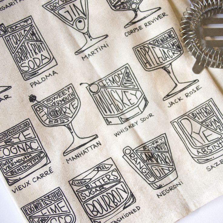 Sixteen cocktails, complete with diagrammed ingredients. All hand-drawn and printed onto a natural, unbleached cotton tea towel / Alyson Thomas