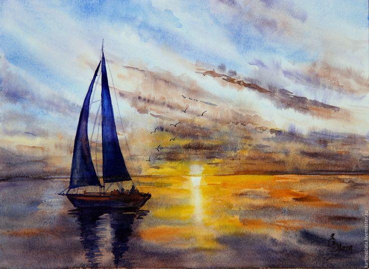 Купить Лодочка в лучах заката - тёмно-фиолетовый, закат, закат на море, закат солнца, лодка