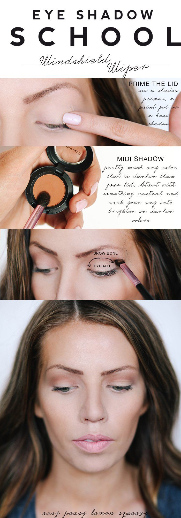 Easy daytime eyeshadow look.  Eyeshadow School: Windshield Wiper - Maskcara