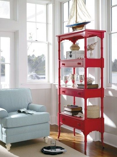 Coffee tables reused as shelving and bookcases. Seriously cute
