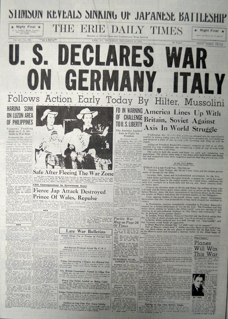 This front page is dated December 11, 1941, shows the Erie Daily Times' coverage of the beginning of the United States' involvement in World War II, just days after the attack on Pearl Harbor.