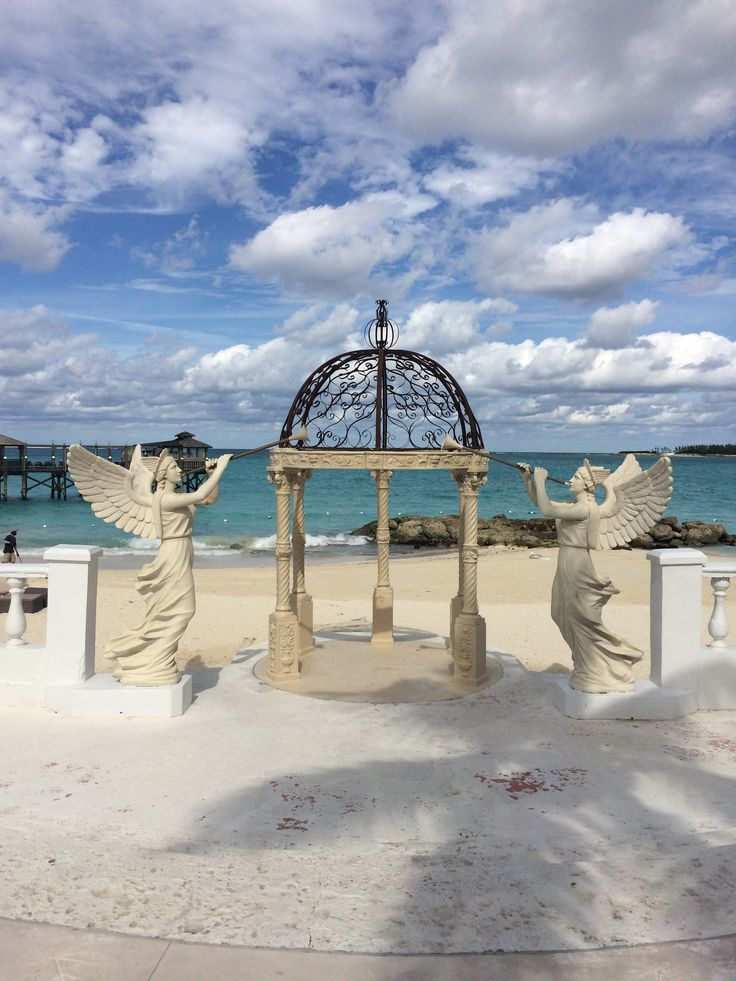 Enjoy your wedding ceremony beachside at the spectacular gazebo at the Sandals Royal Bahamian in Nassau, Bahamas.