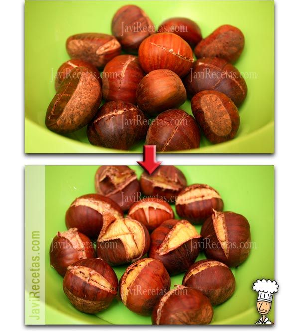 cuire des châtaignes au micro ondes (cooking chestnuts in the microwave)