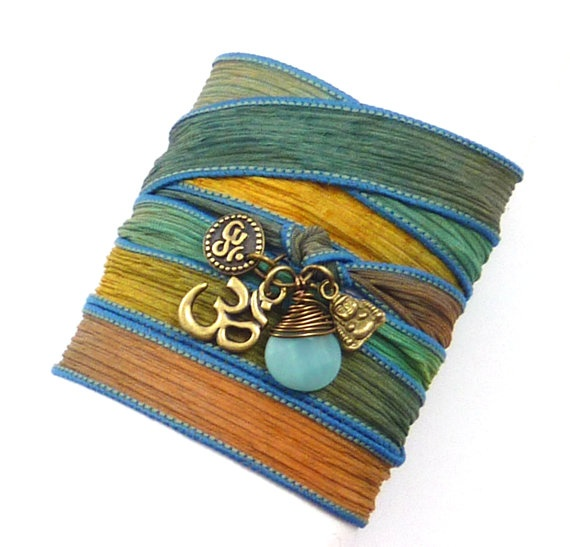 Om Silk Wrap Bracelet with Buddha by charmeddesign1012 on Etsy, $36.00