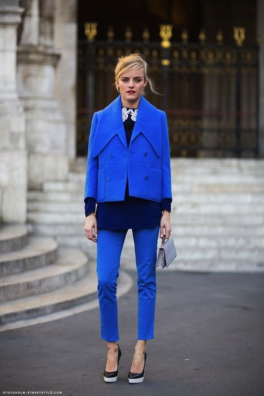 Cobalt blue on the streets of Stockholm #streetstyle #fashion