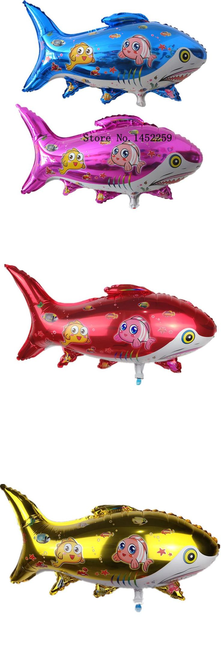 [Visit to Buy] XXPWJ Free shipping the new aluminum film balloon toy for children birthday party shark balloon wholesale #Advertisement