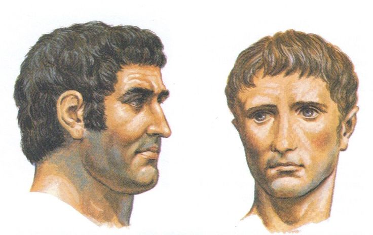 Portraits of the Romans, Mark Antony & young Octavian, by Peter Connolly.  (Marcus Antonius /Emperor Augustus//user: Aethon)