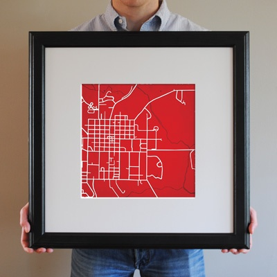 City Prints Map Art of Miami University, Oxford OH