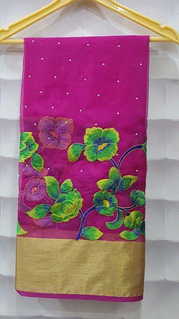 Semi orgaanza sareees with plain blouse | Buy Online Semi organza Sarees | Elegant Fashion Wear