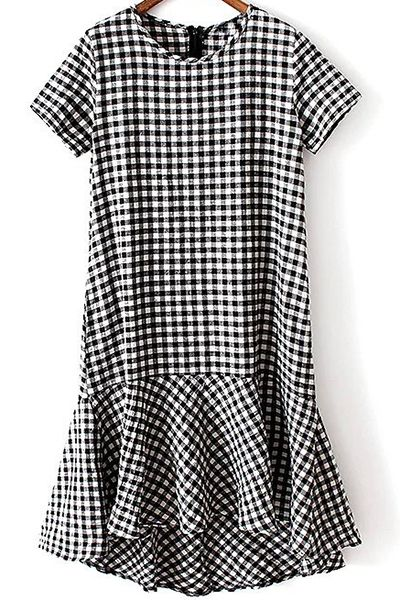 Checked High-Low Round Neck Short Sleeve Dress