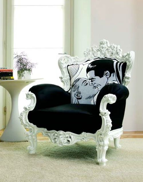 Love the black and white chair. Lichtenstein pillow ,awe.