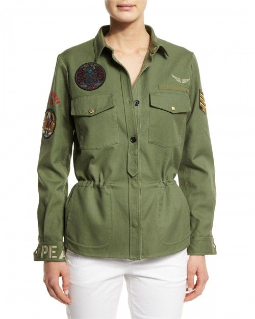 Zadig+Voltaire+Cotton+Button+Front+Military+Jacket+Khaki+X+|+Coat,+Jacket+and+Clothing