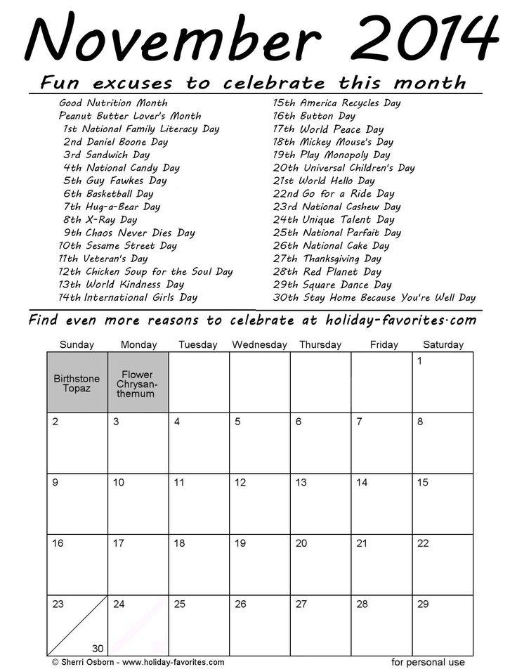 Calendar Ideas For November : November special days calendar page printable