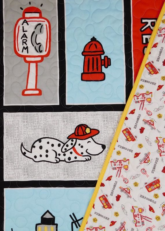 Firefighter Baby quilts fireman crib bedding by BabyQuiltsbyRomiW