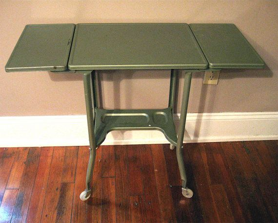 Vintage Industrial Metal Green Typewriter Stand Drop Leaf Table Rollers  Toledo