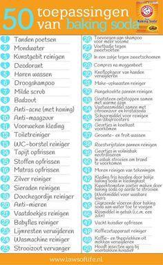 Een artikel met 50 toepassingen van baking soda op het gebied van persoonlijke verzorging, schoonmaak en gezondheid. Een ware alleskunner!