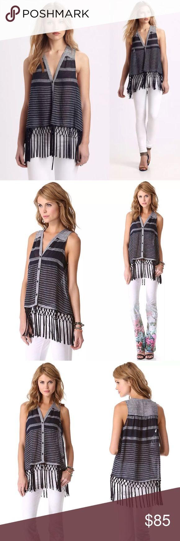 "New Rebecca Minkoff Maui Fringed Top New without Tags  $228  Sold out  Bust: 40""  Length with fringe: 32""   Slinky, tasseled fringe falls from the hem of a striped, sleeveless blouse, adding a playful touch to the boxy silhouette. V neckline and button placket.   Fabric: Textured weave.  80% linen/10% polyamide/7% cotton/3% acrylic.  Dry clean.  Imported, China. Rebecca Minkoff Tops Tunics"