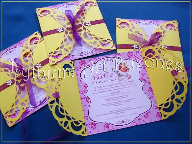 "#InvitacionesInfantiles Invitaciones para Bautizo ""Doily Door"" | Lythium Art® Design by: Yil Siritt"