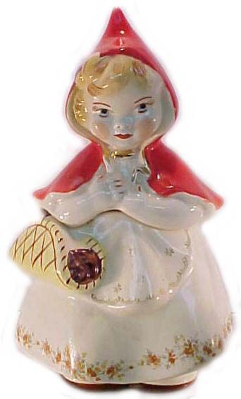 """Hull Pottery, Little Red Riding Hood, 1943-57. Cookie jar, 13"""", marked with patent #. This is one of the few pieces of LRRH made by Hull; most were made by Regal China under Hull's patent."""