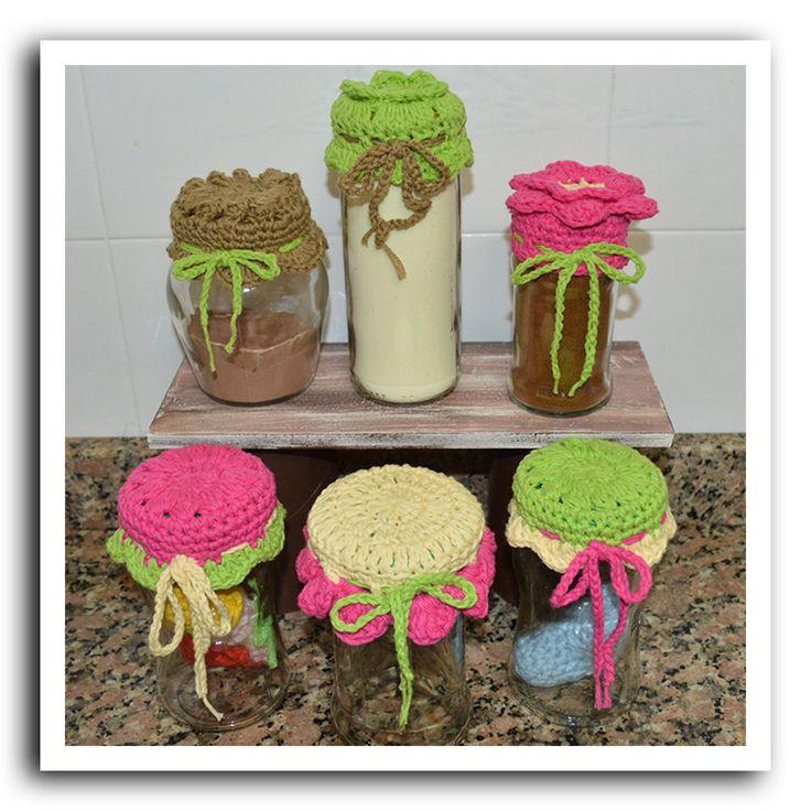 Tapitas de frascos tejidas al crochet