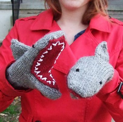 Knitting pattern for Shark Mittens - Celebrate Shark Week with Breeanna Sveum's Deep Blue Sea mittens in 4 sizes: Child's S, L; Adult S, L