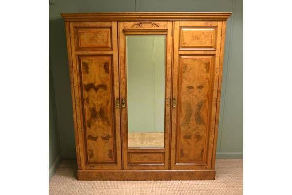 Figured Burr Pollard Oak #Antique Triple Wardrobe By Johnson And Appleyards Sheffield | Vinterior London  #furniture
