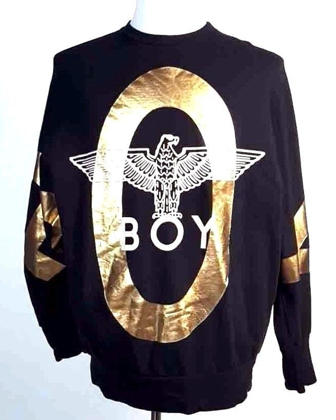 BOY London Gold Flake Spell Out Sweatshirt Sweater Black Big Logo MADE USA One  #BoyLondon #SweatshirtCrew
