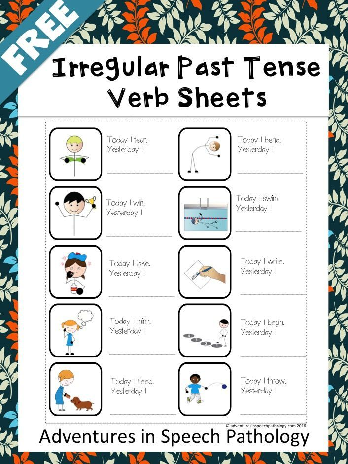 Freebie for Irregular Past Tense Verbs. Simple sentence starter worksheets with a picture to help understanding.