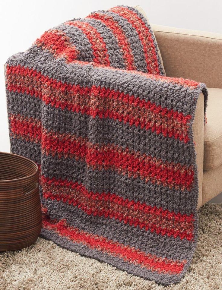 Striped Crochet Afghan in Bernat Soft Boucle   Knitting ...
