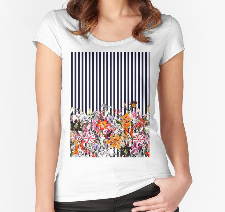 """""""Bloom Floral"""" Women's Fitted Scoop T-Shirts by talipmemis   Redbubble"""