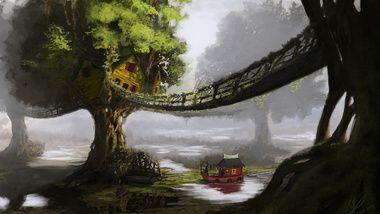 хижины, корабль, пейзаж, арт, река, дома, деревья