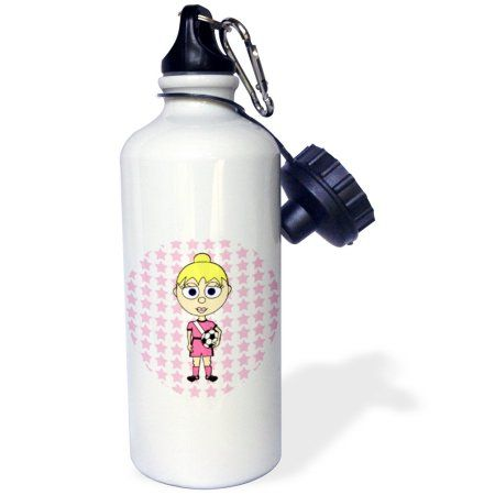 3dRose Cute Soccer Girl with Blond Hair, Sports Water Bottle, 21oz