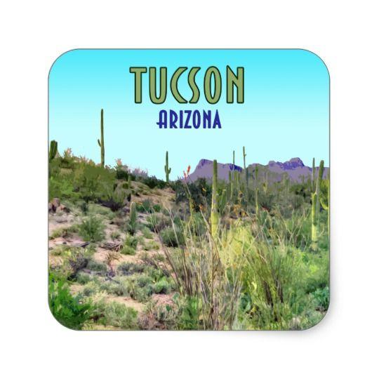 Tucson Arizona Cactus And Mountain Vintage Square Sticker Zazzle Com Tucson Arizona Arizona Cactus Tucson