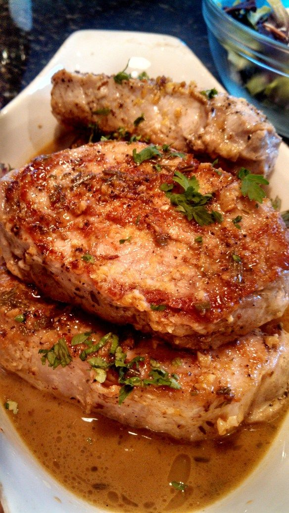 Sautéed Pork Chops with lemon garlic sauce.