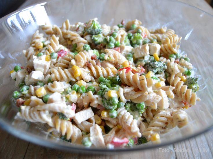 Cremet pastasalat med kylling til madpakkerne… (MADEN I MIT LIV!)