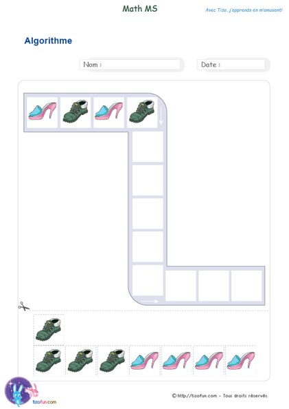 PDF Maths Exercices d'algorithme Maternelle Moyenne Section - Apprendre l'ordre & le rythme avec les algorithmes, analyser et comprendre les suites répétitives.