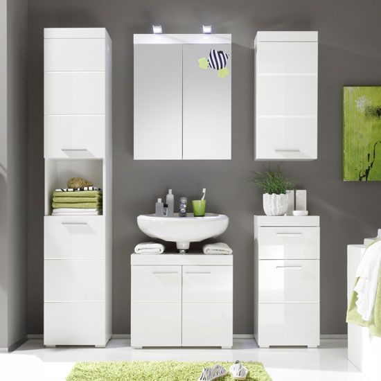 Amanda Tall Bathroom Cabinet In White With High gloss Fronts ...
