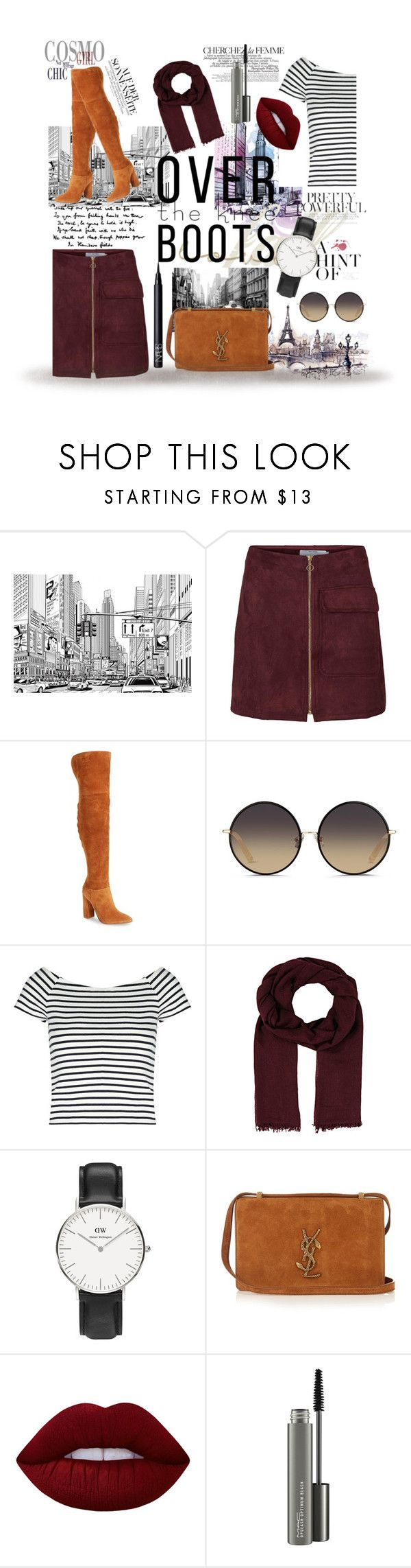 """brown boots"" by pasteldemerme ❤ liked on Polyvore featuring La Femme, Marc Fisher LTD, Matthew Williamson, Lipsy, Faliero Sarti, Daniel Wellington, Yves Saint Laurent, Lime Crime, MAC Cosmetics and NARS Cosmetics"