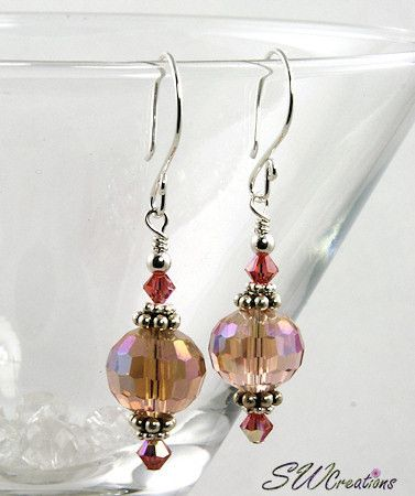 Handcrafted 2 inch handmade beaded earrings crystal with pinkish peach Padparadscha Swarovski Austrian crystals, iridescent pale peach Czech faceted crystal 12mm glass beads, bright Bali .925 silver,