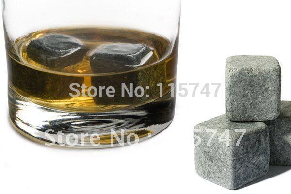 Free by DHL! Whisky stones 6pcs set in velvet bag, 50sets/lot, cooling beer wine stones, ice cube rocks