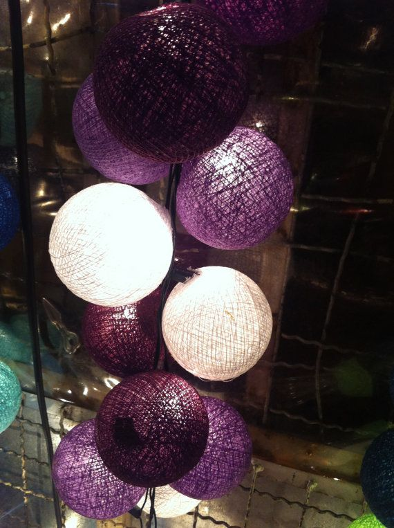 20 x Purple tones color cotton ball Bali string light patio outdoor decoration deco room bedroom wedding patio party Beach balcony