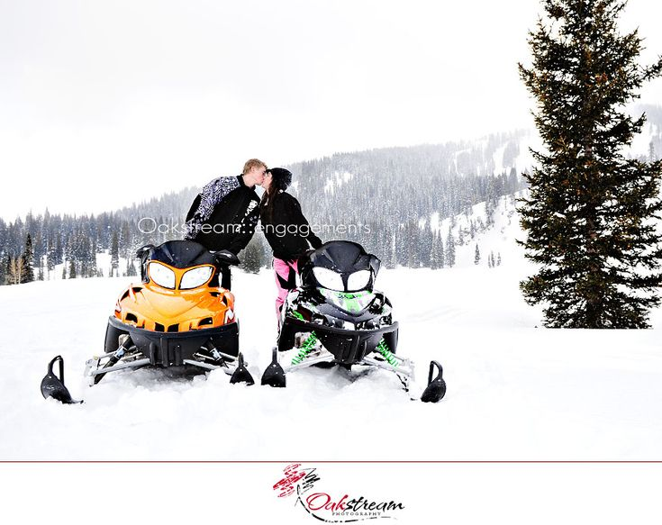 Cute picture ideas, love how snowmobiling is incorporated <3