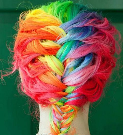 rainbow. Crazy Hair, French Braids, Rainbows Hair, Hair Colors, Rainbow Hair, Beautiful, Rainbowhair, Hair Style, Colors Hair