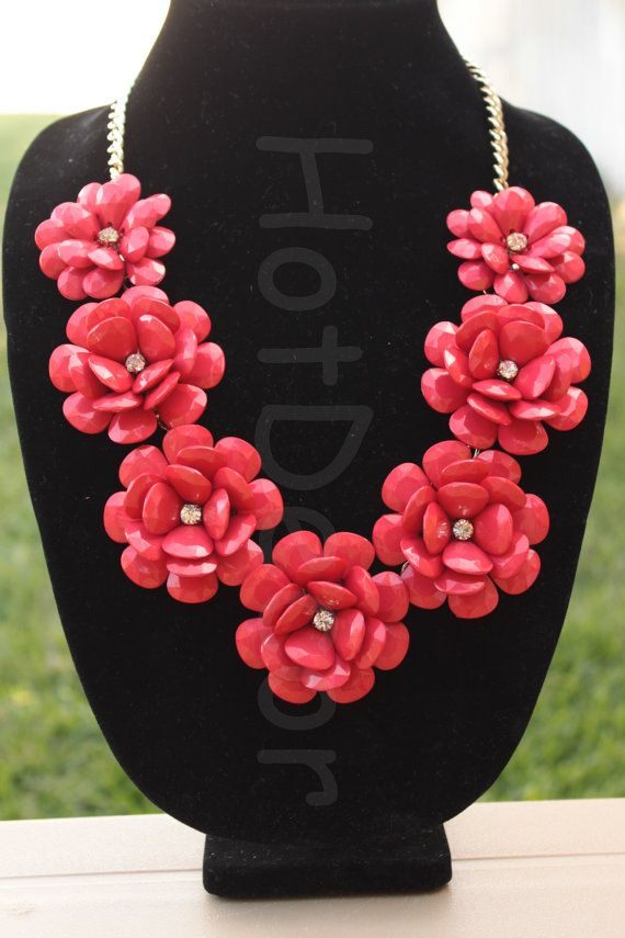 Red rose Flower Statement necklace Bubble necklace red by HotDecor, $19.99