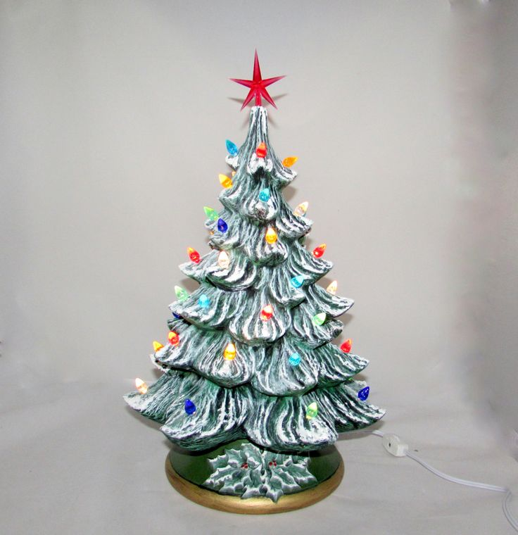 Large Ceramic Frosty Christmas Tree with colored lights - 16 inches with…