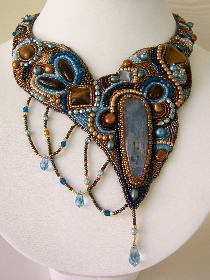 Necklace   Painted with Beads Designs.  'Stalactite'  Kyanite, tiger eye, fresh water pearls, Czech crystals and seed beads, Swarovski drop crystals.