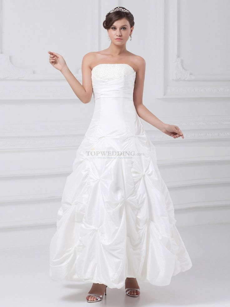 Strapless Taffeta Ankle Length Wedding Dress with Beaded Bodice and Pick Up Skirt