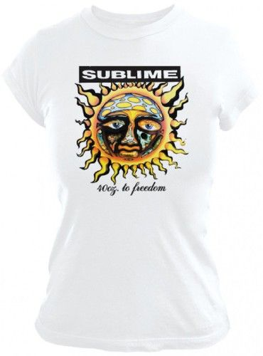 This Sublime women's tshirt features the album cover artwork from the Long Beach, California alternative ska punk rock band's debut release, 1992's 40 Oz. To Freedom. This white tee is made from 100%